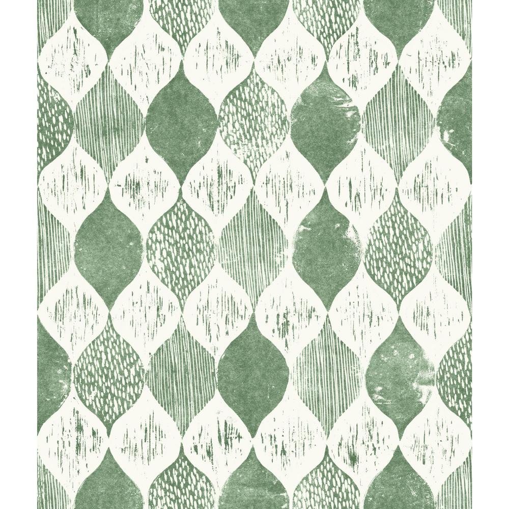 Magnolia Home by Joanna Gaines 56 sq.ft. Woodblock Print Wallpaper