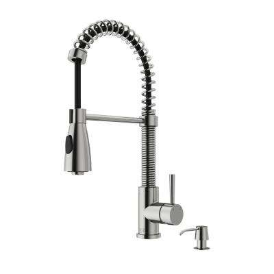 Brant Single-Handle Pull-Down Sprayer Kitchen Faucet with Soap Dispenser in Stainless Steel