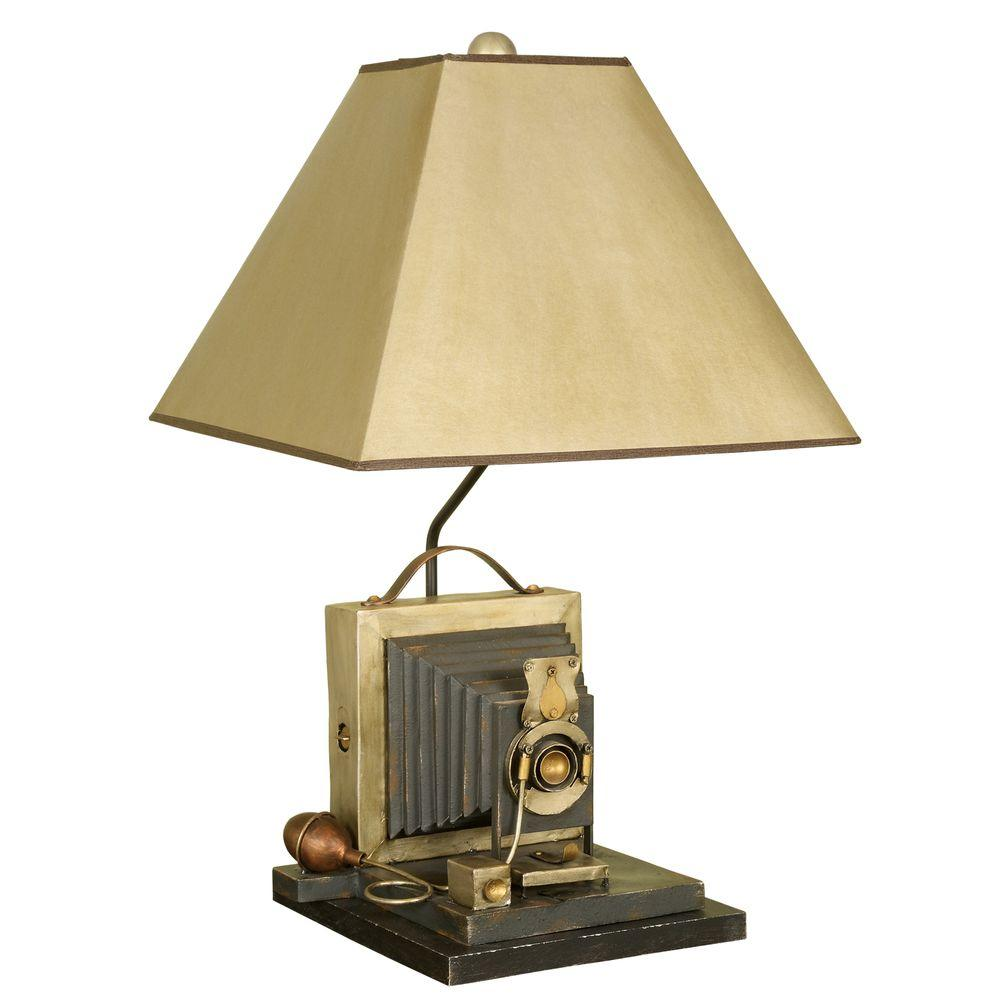 null 25.75 in. Brown/Yellow Antique Camera Table Lamp with Parchment Shade