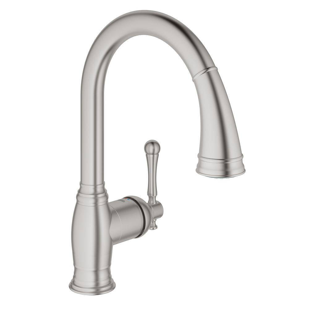 grohe kitchen faucet installation grohe bridgeford single handle pull sprayer kitchen 17971