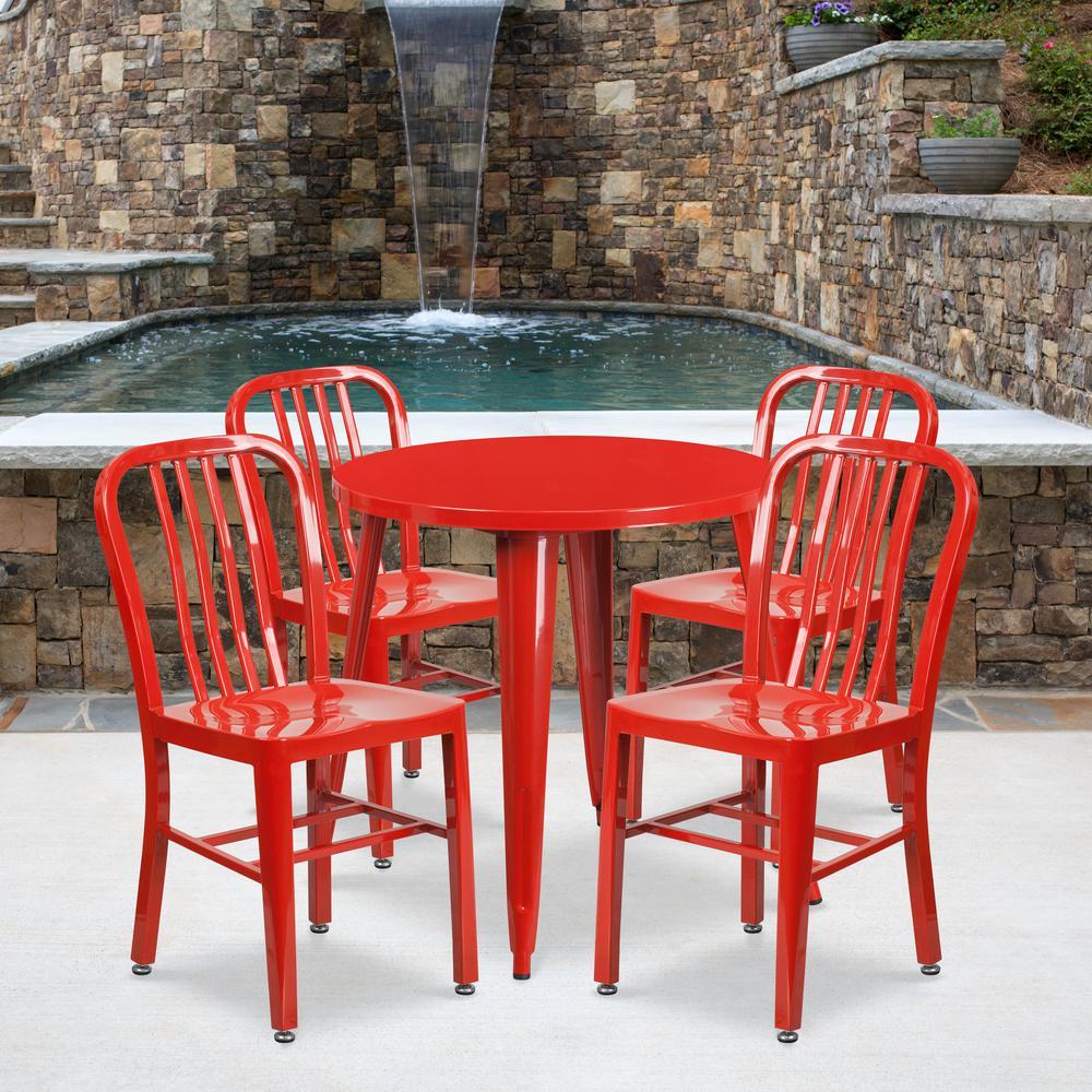 Red 5-Piece Metal Round Outdoor Bistro Set