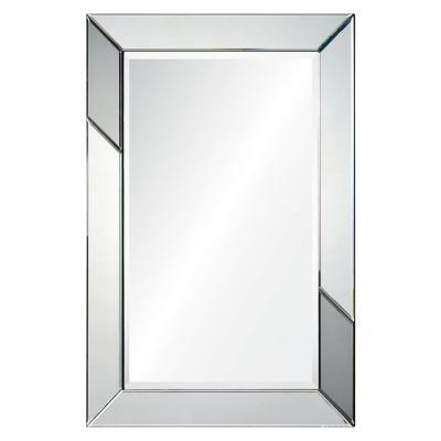 Medium Rectangle Silver Metallic Shatter Resistant Classic Mirror (36 in. H x 24 in. W)
