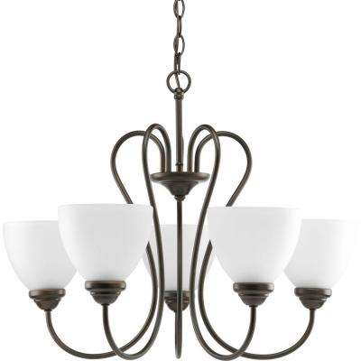 Heart Collection 5-Light Antique Bronze Chandelier with Etched Glass Shade
