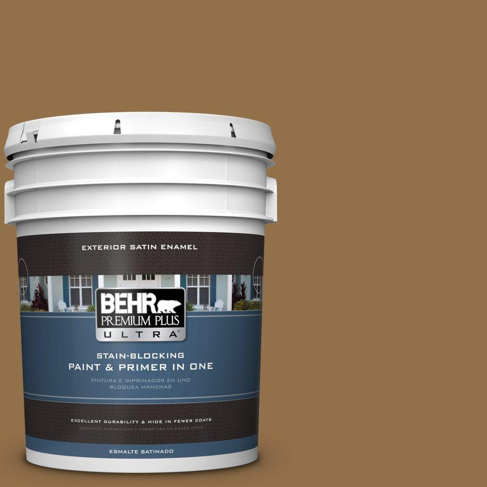 BEHR Premium Plus Ultra 5-gal. #N280-7 Brass Button Satin Enamel Exterior Paint