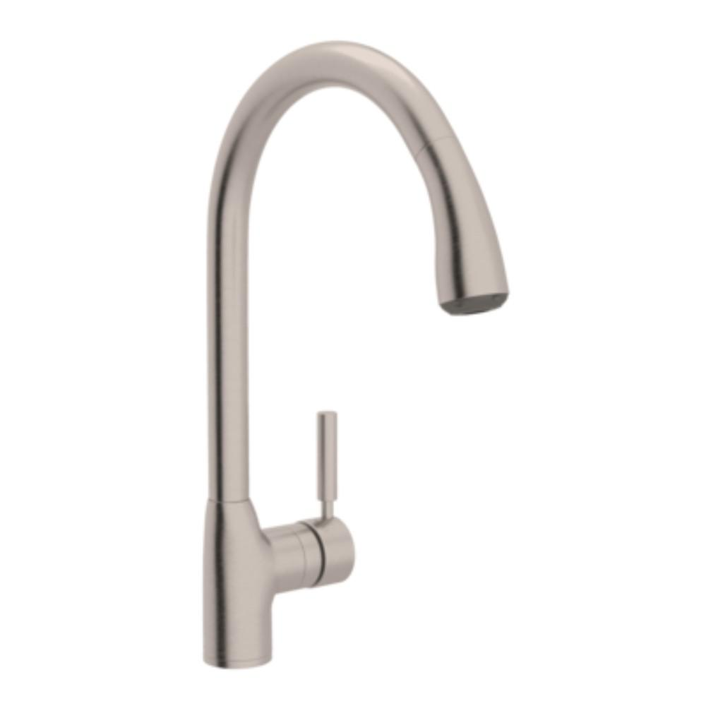 ROHL Modern Lux Single-Handle Pull-Down Sprayer Kitchen Faucet in Satin  Nickel