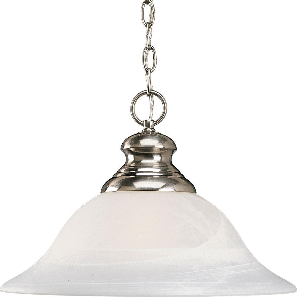 Progress Lighting Bedford Collection 1 Light Brushed Nickel Pendant With Alabaster Gl