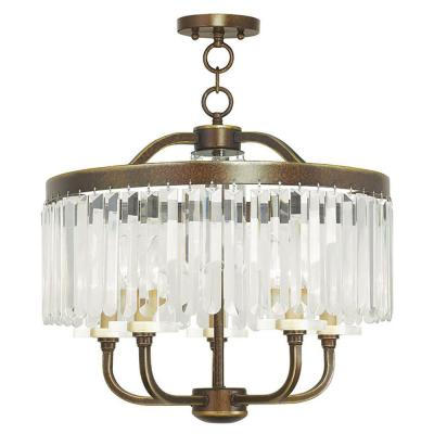 Ashton 5-Light Hand Painted Palacial Bronze Convertible Chandelier with Clear Crystals Shade