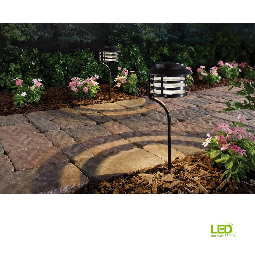 Hampton Bay Solar Bronze Outdoor Integrated LED New Age Pagoda ...