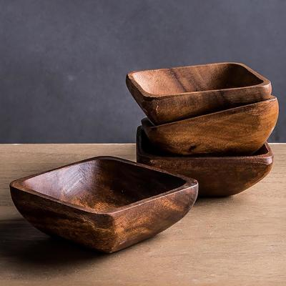 Acacia Wood 4-Piece 4 in. Dia Square Bowl Set