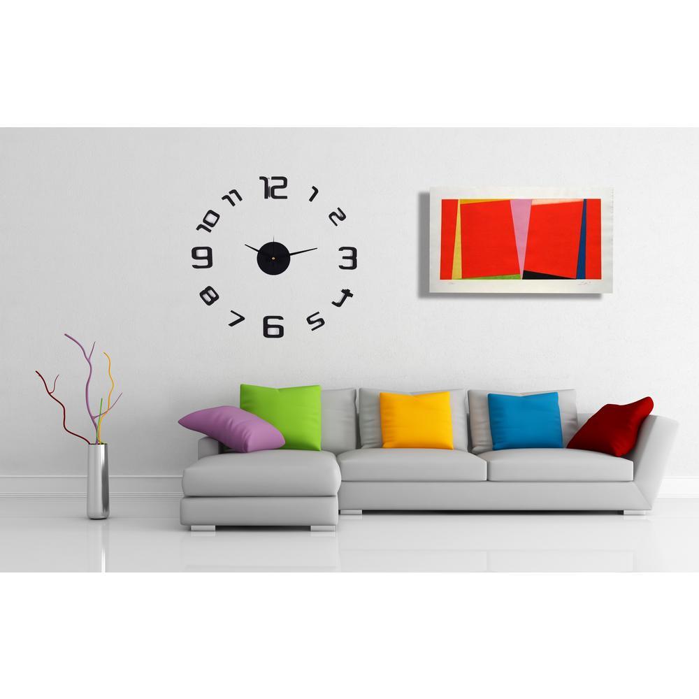 Modern 20 in. Black 3D Frameless Wall Clock