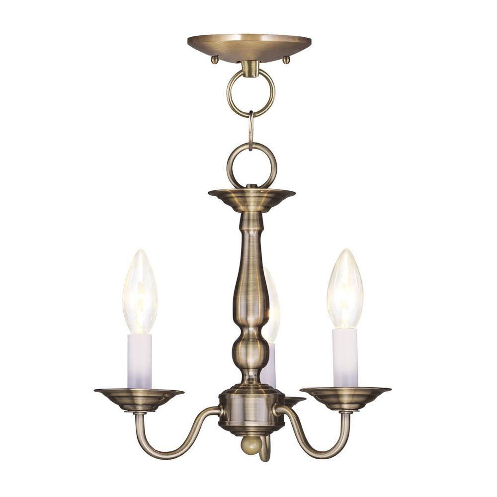 3-Light Antique Brass Chandelier