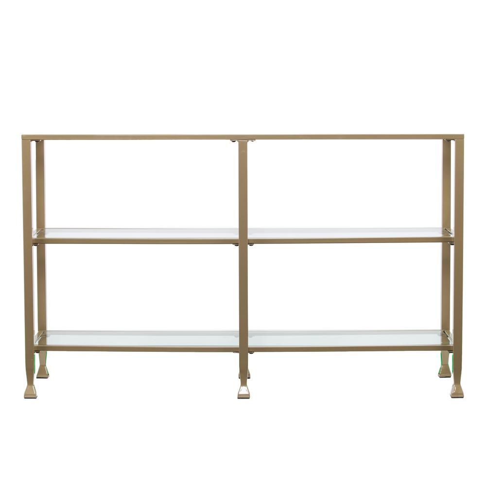 Galena Matte Khaki Metal/Glass 3-Tier Media Stand/Console Table