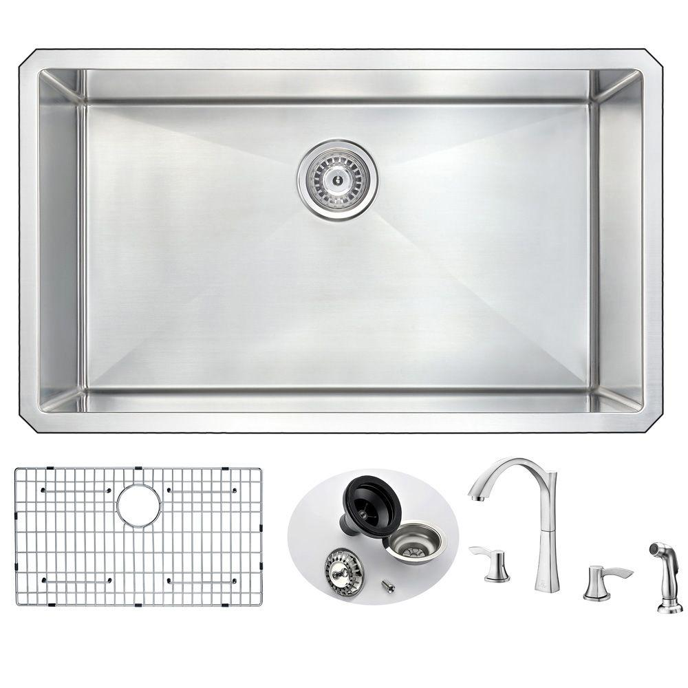 Anzzi Vanguard Undermount Stainless Steel 32 In 0 Hole Kitchen Sink