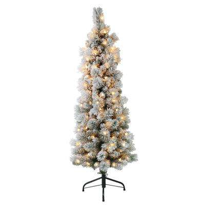 4.5 ft. Pre-Lit Flocked Portland Pencil Artificial Christmas Tree with 100 UL- Listed Clear Lights