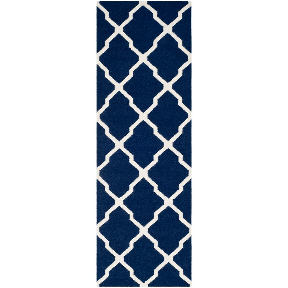 Safavieh Dhurries Navy Ivory 3 Ft X 6 Ft Runner Rug
