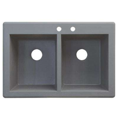 Radius Drop-in Granite 33 in. 2-Hole Equal Double Basin Kitchen Sink in Grey