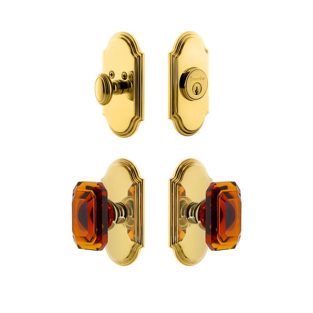 Arc Plate 2-3/8 in. Backset Lifetime Brass Amber Baguette Crystal Door Knob with Single Cylinder Deadbolt