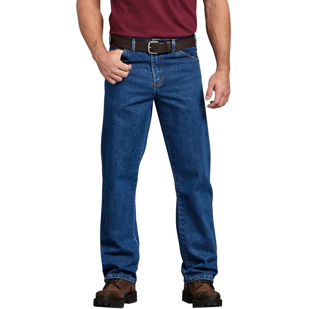 55e737a5 Dickies Men's Stonewashed Indigo Blue Regular Straight Fit 5-Pocket Denim  Jean