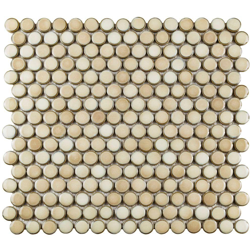 Merola Tile Hudson Penny Round Truffle 12 in. x 12-5/8 in. x 5 mm ...