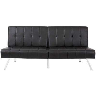 Black PU Leather with Metal Solid Leg Folding Lounge Couch Sofa Bed