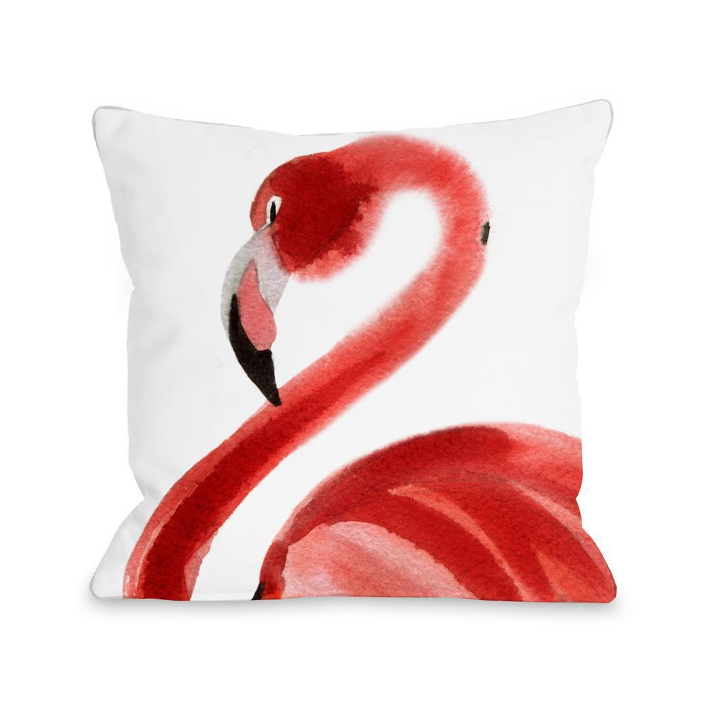 Oversized Flamingo 16 In X 16 In Decorative Pillow