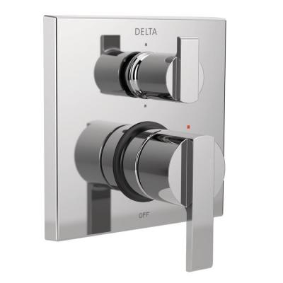 Ara Modern 2-Handle Wall-Mount Valve Trim Kit with 6-Setting Integrated Diverter in Chrome (Valve Not Included)