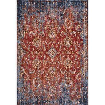 Manor Spice/Blue Expressions 10 ft. x 14 ft. Distressed Area Rug