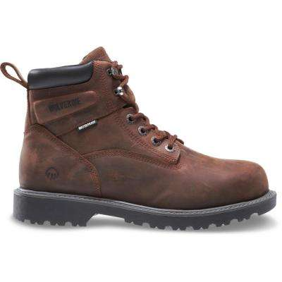 "Men's Floorhand 10.5EW Dark Brown Full-Grain Leather Waterproof Steel Toe 6"" Boot"