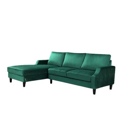 Green Velvet 3-Seater Left-Facing Sectional Sofa with Removable Cushions