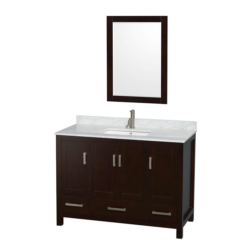 Wyndham Collection Sheffield 48 in. Vanity in Espresso with Marble Vanity Top in Carrara White and 24 in. Mirror