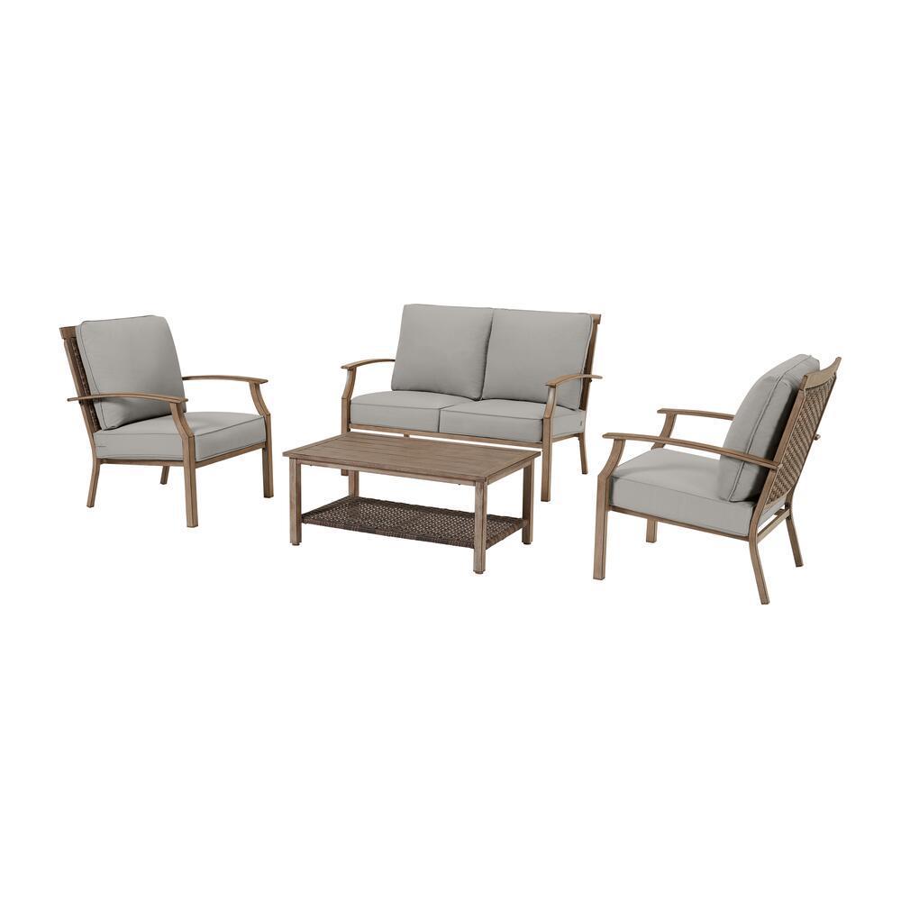 Geneva Brown 4-Piece Wicker Outdoor Patio Conversation Deep Seating Set with CushionGuard Stone Gray Cushions