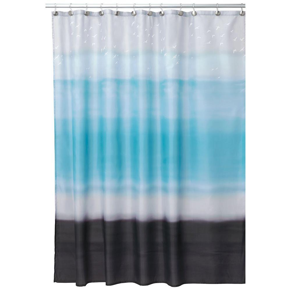 Shower Curtain In Blue And Coco