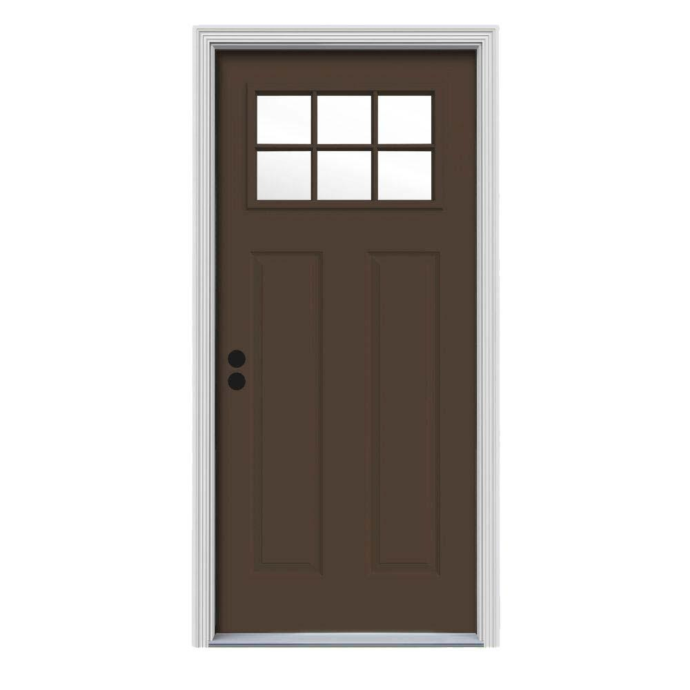 30 in. x 80 in. 6 Lite Craftsman Dark Chocolate Painted