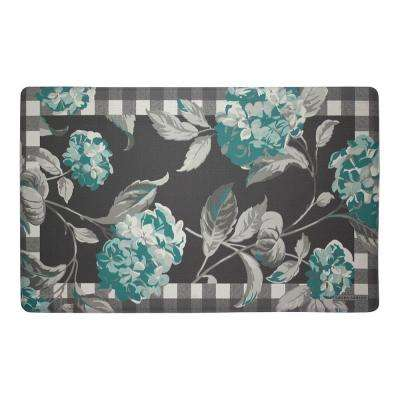 Hydrangea Checkered Floral Teal 20 in. x 32 in. Memory Foam Kitchen Mat