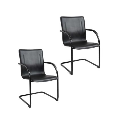 Black Frame Black Vinyl Side Chair (2-Pieces per Pack)