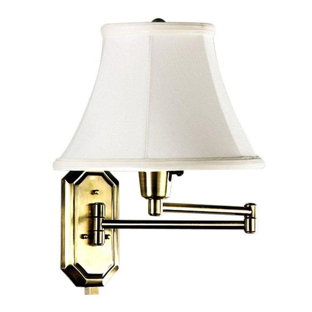 Home Decorators Collection 1-Light Polished-Brass Swing-Arm Lamp
