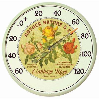 12.5 in. Cabbage Rose Analog Thermometer