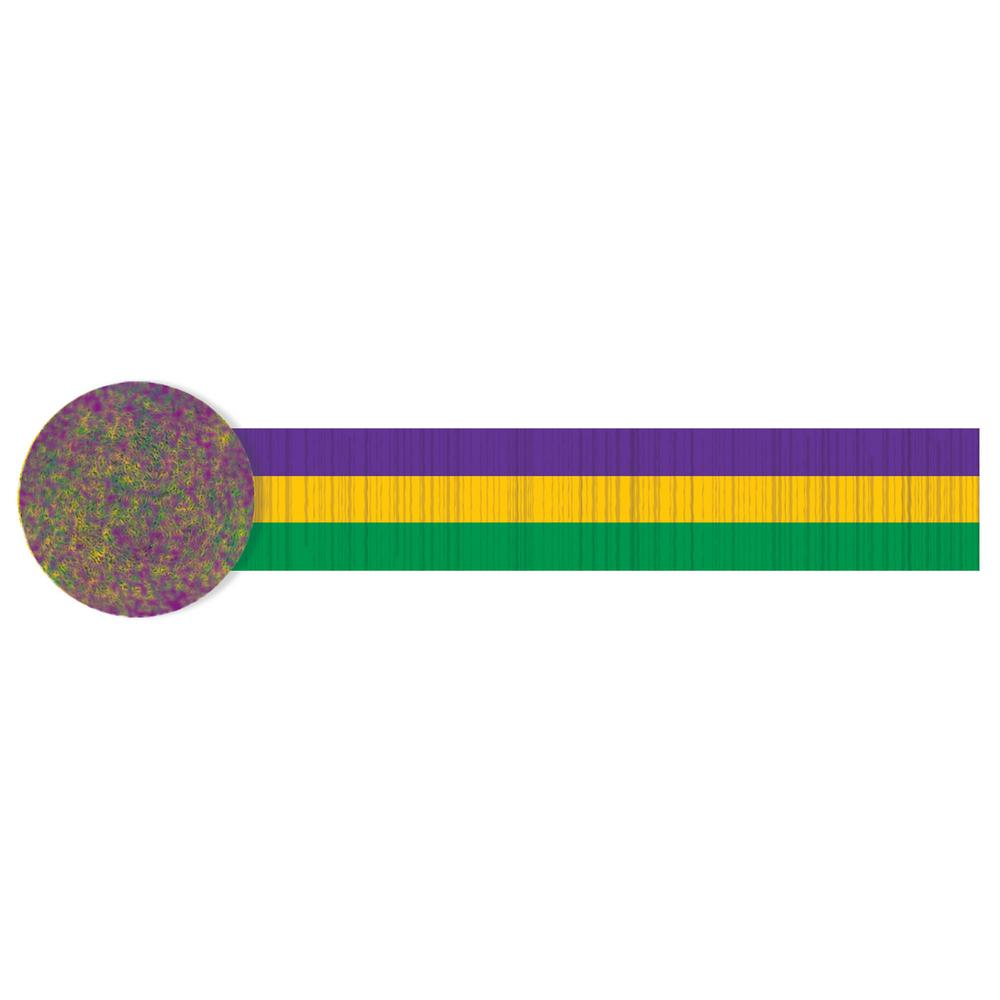 Amscan 30 ft. Mardi Gras Green, Purple and Gold Crepe Streamer (4-Pack) Need an easy way to add pizzazz to your party space, Add streamers. These purple, gold, and green striped streamers are just what you need to transform any room into a space, worthy enough for a Mardi Gras celebration. With 30 ft. worth per roll of streamers, you can go all out.