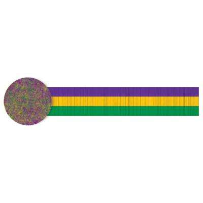 30 ft. Mardi Gras Green, Purple and Gold Crepe Streamer (4-Pack)