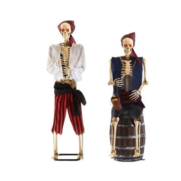 5 ft. Animated LED Pirate Skeletons (Set of 2 )