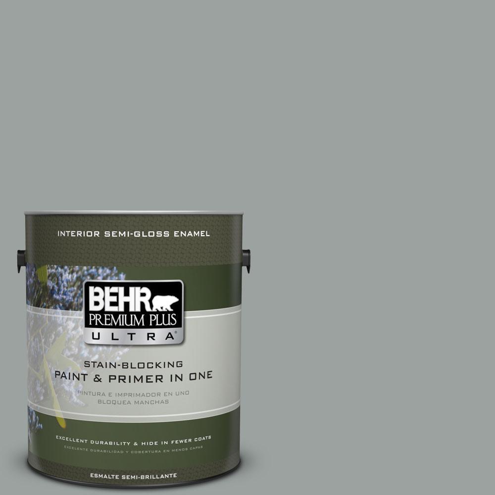 BEHR Premium Plus Ultra 1-gal. #PPU11-16 Brampton Gray Semi-Gloss Enamel Interior Paint