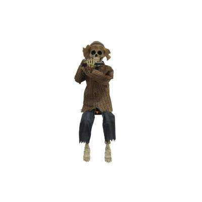 38 in. Animated Skeleton Playing Harmonica