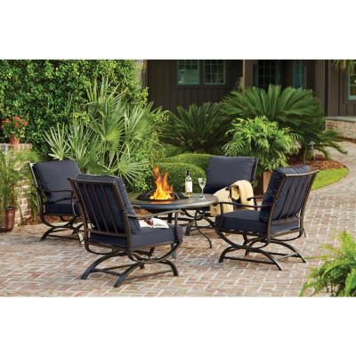 Redwood Valley Black 5-Piece Steel Outdoor Patio Fire Pit Seating Set with CushionGuard Sky Blue Cushions