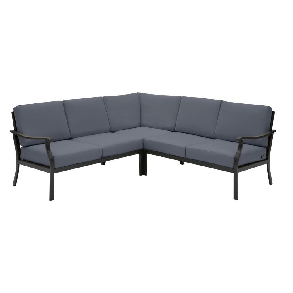 Hampton Bay Riley 3-Piece Black Steel Outdoor Patio Sectional Sofa with CushionGuard Sky Blue Cushions was $899.0 now $701.22 (22.0% off)