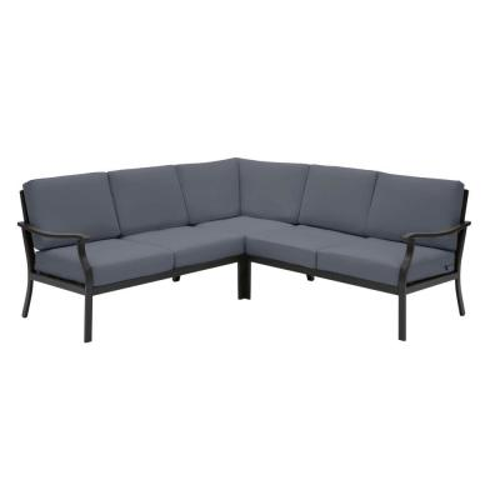 Riley 3-Piece Black Steel Outdoor Patio Sectional Sofa with CushionGuard Sky Blue Cushions