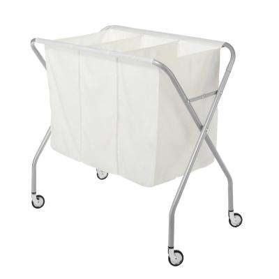 White Silver Epoxy 3-Section Collapsible Deluxe Laundry Sorter