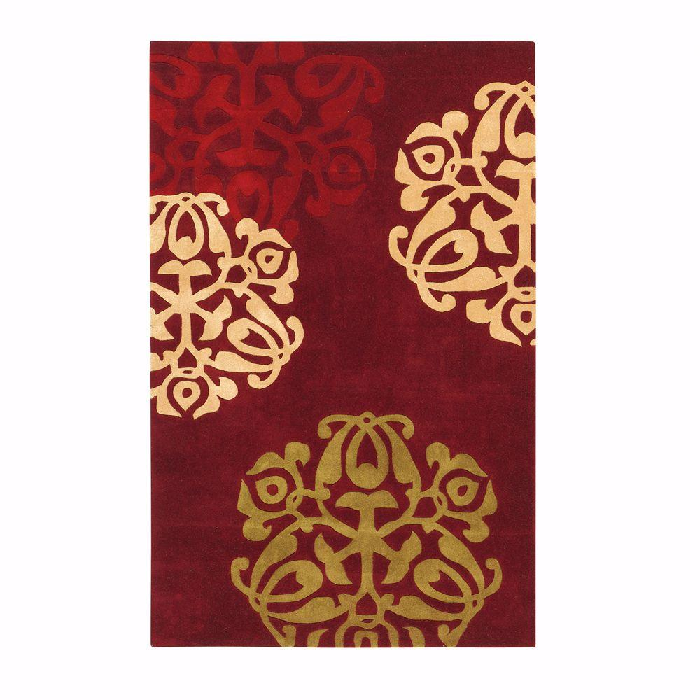 Burgundy Red Gold Accent Area Rug Geometric Wool Rectangle Hand Made Carpets
