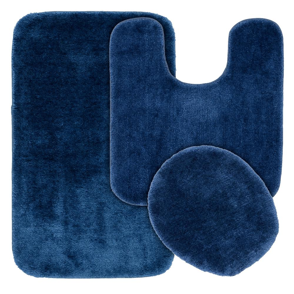 Garland Rug Traditional 3 Piece Washable Bathroom Rug Set in Navy