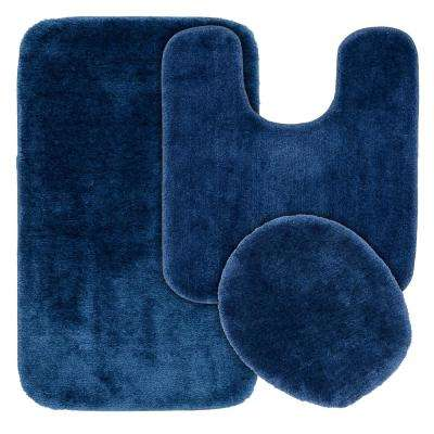 Traditional 3 Piece Washable Bathroom Rug Set in Navy