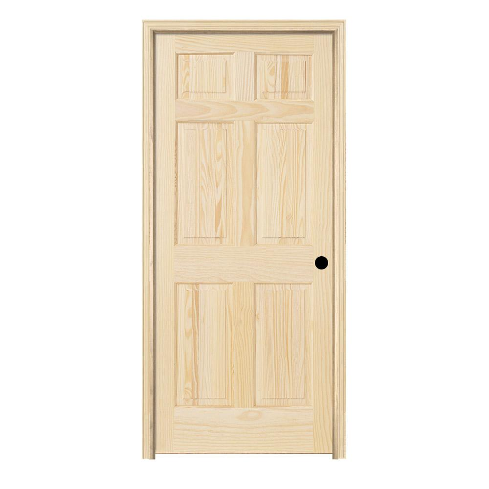 Jeld Wen 24 In X 80 In Pine Unfinished Left Hand 6 Panel Wood